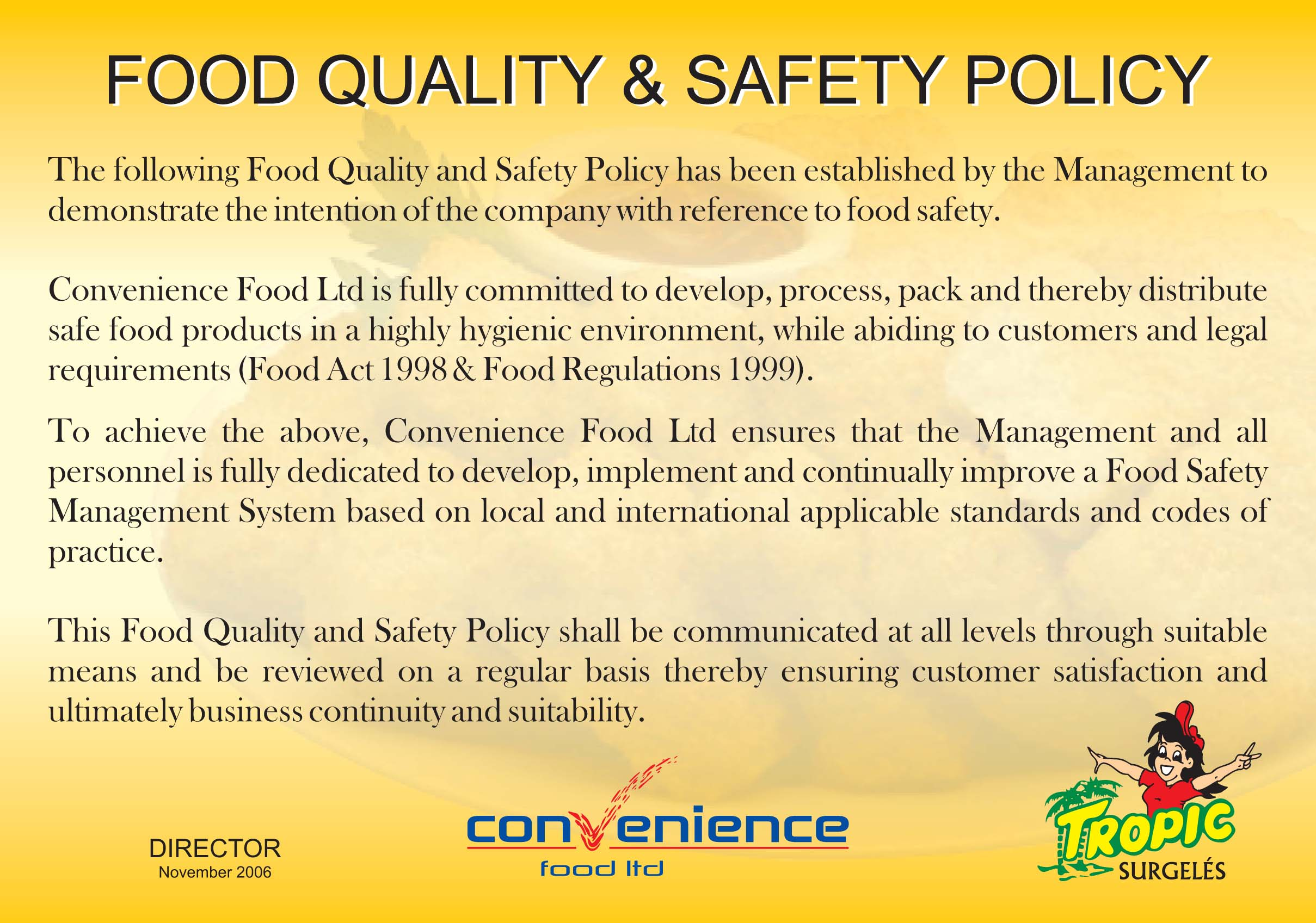 welcome to tropic group of companies food quality and safety policy